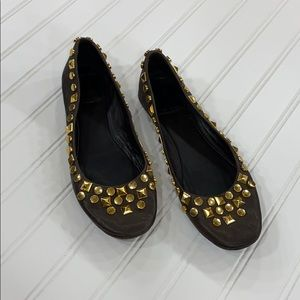 Tory Burch Gold Studded Leather Flats - sz 7.5